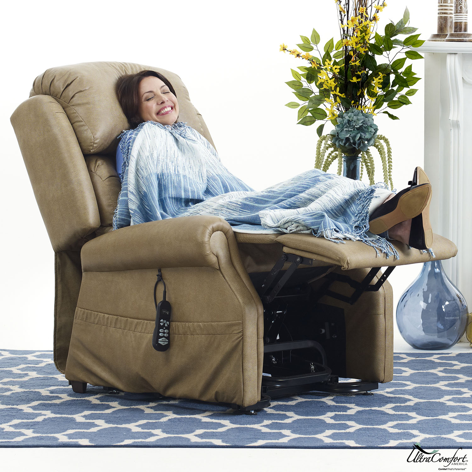 Woman in a zero gravity UltraComfort power recliner chair
