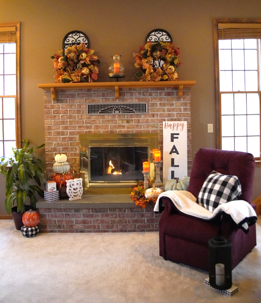 Fall Decor For Fireplace Mantle with UltraComfort Lift Recliner Chair
