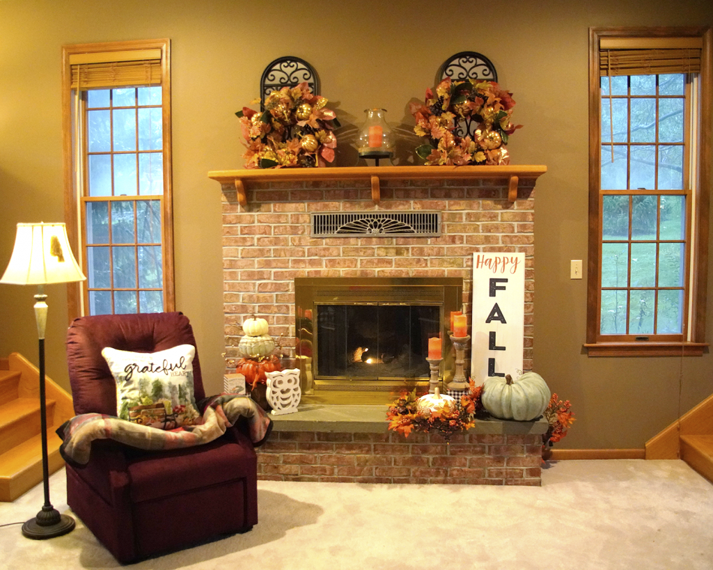 Fall Fireplace Mantle Decorations with UltraComfort Lift Recliner