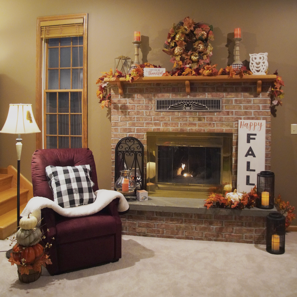 Fall Mantle Decorations with UltraComfort Lift Recliner